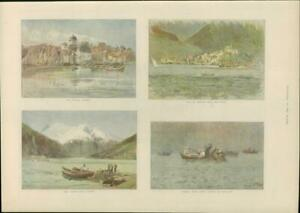 1901-Antique-Print-NORWAY-Bergen-Nykirk-Yacht-Stryn-Lake-Visnoes-252