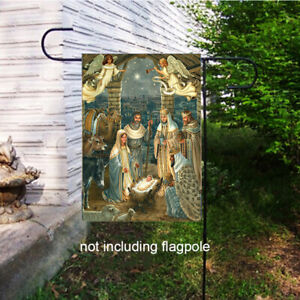 Nativity Holy Night Jesus Garden Flag House Yard Lawn Welcome Flags Decor Banner