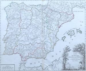 Cartina Spagna Antica.Antica Mappa Spagna Catalogna Andalusia Baleari Portogallo De Vaugondy 1757 Ebay