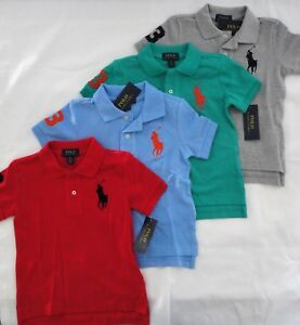 NWT Ralph Lauren Toddler Boys SS Big Pony Solid Mesh Polo Shirt 2/2t 3/3t 4t NEW