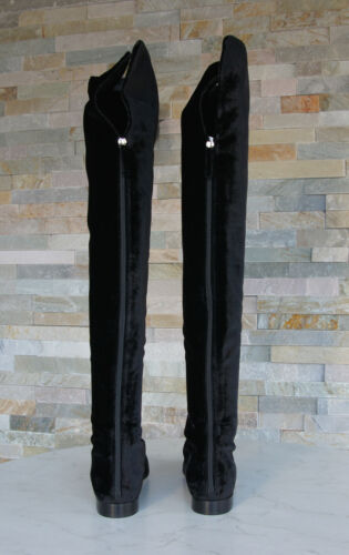 Alberta Ferretti taglia 37 Stivali parigine SCARPE VELLUTO NERO NUOVO ex. UVP 745 €
