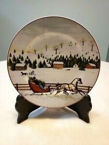 Christmas-Valley-by-Sakura-Salad-Plate-David-Carter-Brown-Horse-amp-Sleigh