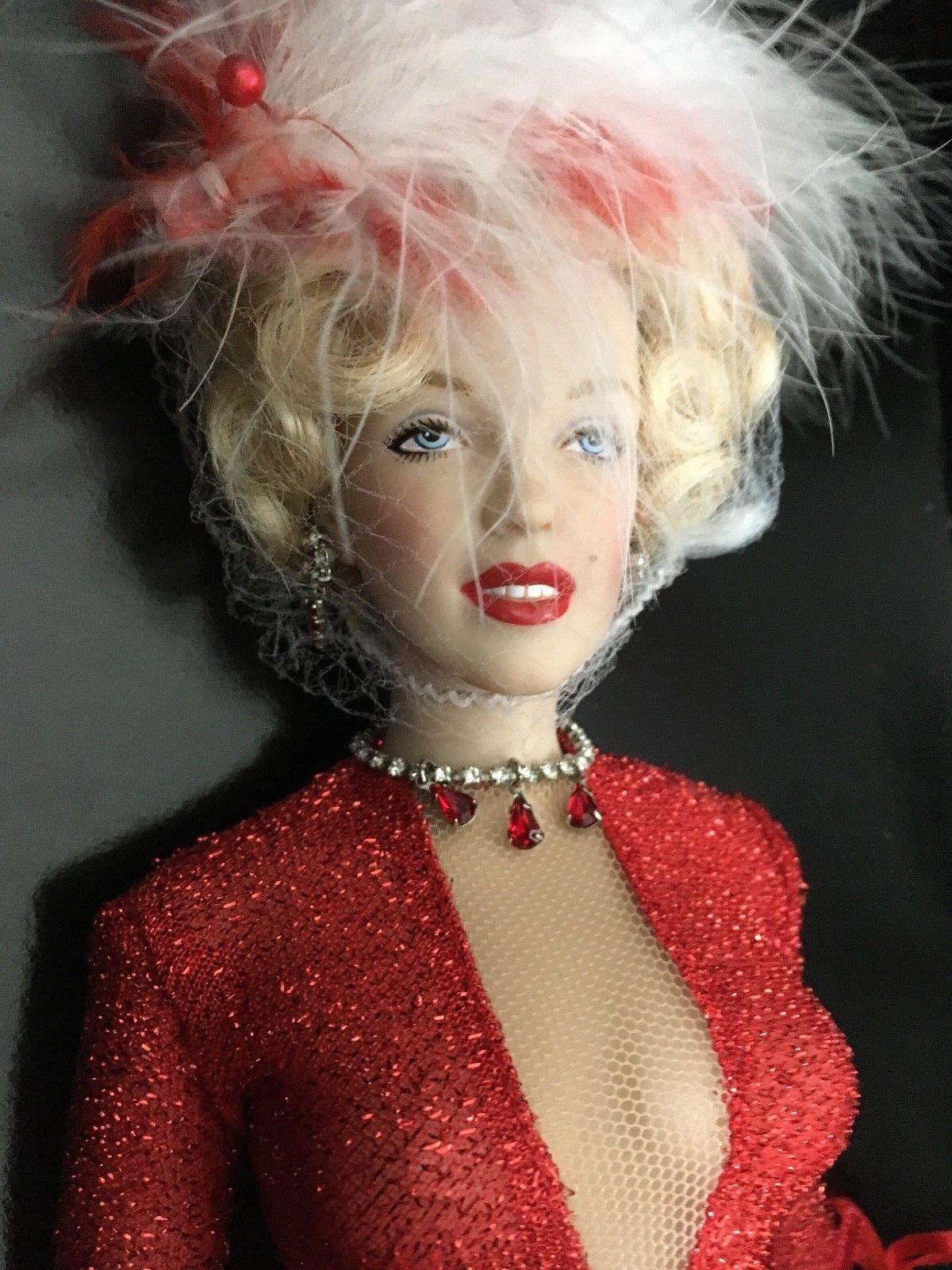 Franklin Mint Marilyn Monroe 16  Vinilo Muñeca Caballeros prefieren rubias Conjunto Nuevo En Caja