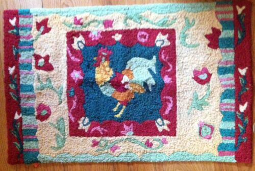 "Antique colorful rooster Throw Rug 22"" x 34"" great colors, bright, cheerful"
