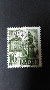FRANCE-1947-OCCUPATION-ALLEMAGNE-BADE-timbre-6-CHATEAU-RASTATT-oblitere-VF-STAMP