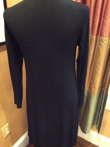 NWT Eileen Fisher Viscose Stretch V Neck XS Charcoal//Black Dress MSRP$298