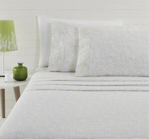 Evergreen-Flannelette-Sheet-Set-100-Cotton-Cuffed-amp-Piped-Queen-King