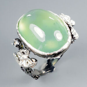 Handmade13ct-Natural-Prehnite-925-Sterling-Silver-Ring-Size-8-R120580