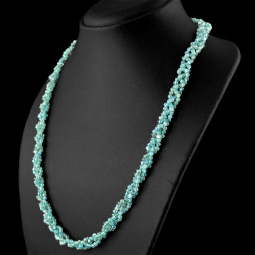 Best Quality 155.00 Cts Natural Unheated Blue Apatite Round Shape Beads Necklace