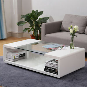 Magnificent Details About High Gloss Painted Glass White Black Coffee Tea Table Side End Tables With Shelf Andrewgaddart Wooden Chair Designs For Living Room Andrewgaddartcom
