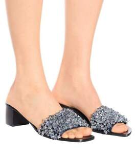 4f47a77284be  348 New Tory Burch LOGAN 45 SLIDE Sandals Satin Beaded Grey Navy ...