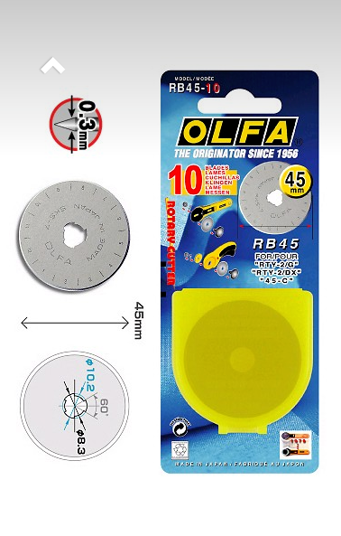 45mm OLFA Genuine Replacement Rotary Blade RB45-1 2 packs 2 pieces