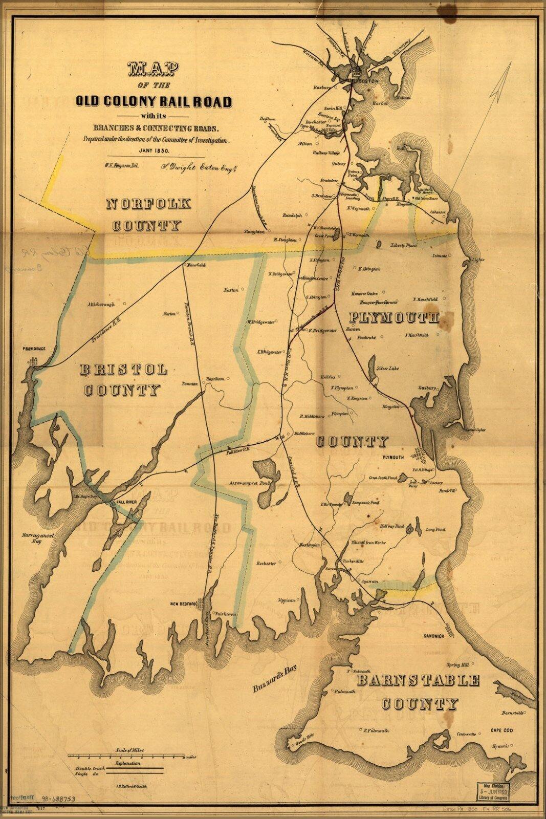 Plakat, Viele Größen; Landkarte der Alt Colony Eisenbahn Massachusetts 1850