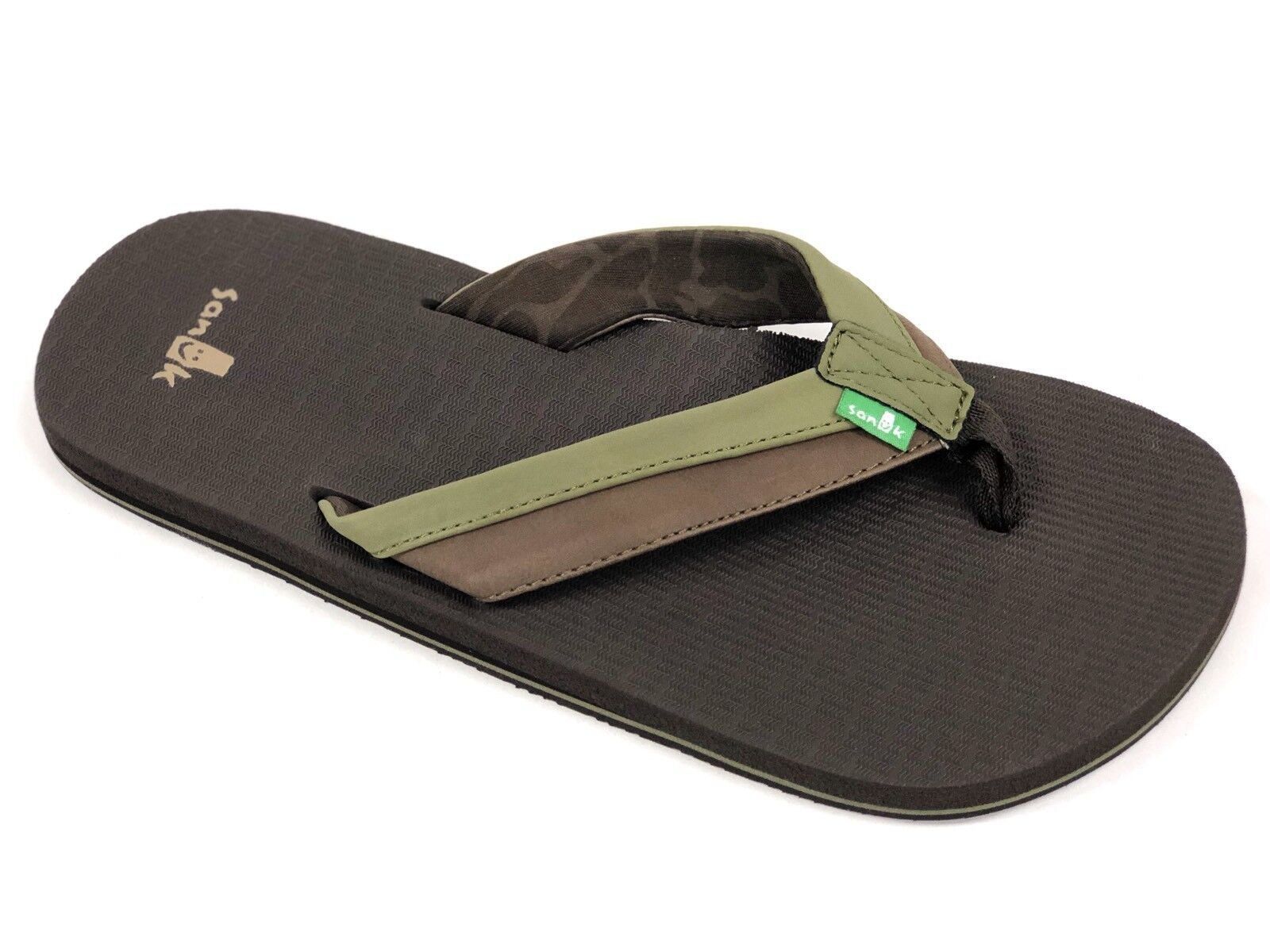 1905792d0b72c Sanuk Sanuk Sanuk Mens BEER COZY LIGHT Olive Dark Brown SMS10412 Casual Flip  Flop Sandal NEW b9f111