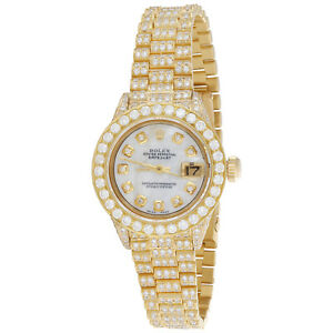 Rolex-18K-Gold-President-26mm-DateJust-69178-VS-Diamond-White-MOP-Watch-7-43-CT