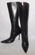 JIMMY CHOO WOMENS SHOES BLACK LEATHER BACK ZIP UP BOOTS EUC SIZE 9.5