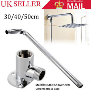 40CM Silver Stainless Steel Bathroom Extension Shower Arm Head Straight Pipe