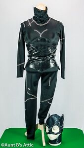 Catwoman-Costume-Woman-039-s-4-Pc-Blk-Hand-Painted-Jumpsuit-Corset-Collar-amp-Mask