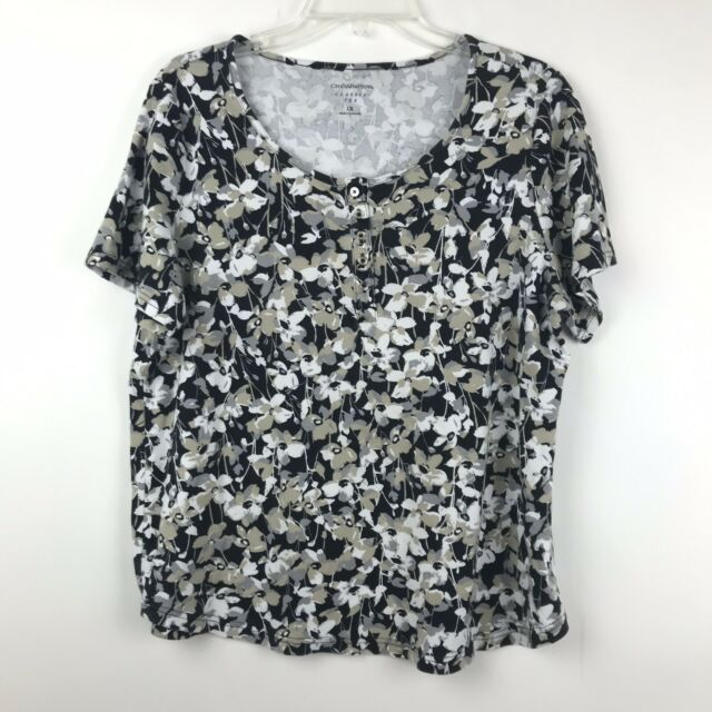 Croft & Barrow Classic Tee Womens Plus Size 1X Floral Print Short Sleeve Shirt