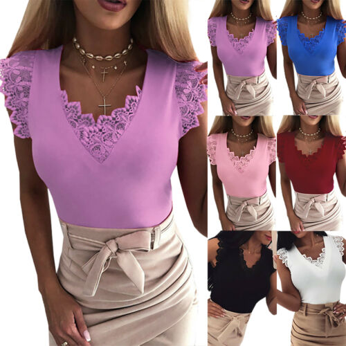 Damen Spitze Weste Tank Top Bluse Oberteil Arbeit Hemd T-Shirt Elegant Tee Shirt