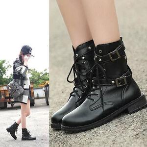 2d748a22d662 Women s Punk Gothic Lace Up Buckle Belts Low Heel Short Martin Ankle ...