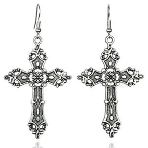 Image Is Loading Large Silver Cross Earrings 80 039 S Madonna