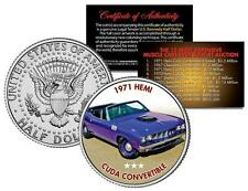 1971 HEMI CUDA CONVERTIBLE Auction Muscle Car Colorized JFK Half Dollar US Coin