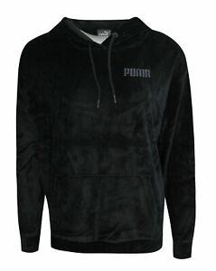 Puma Velour Womens Hoodie Velvet Pullover Track Top Jumper Black ...