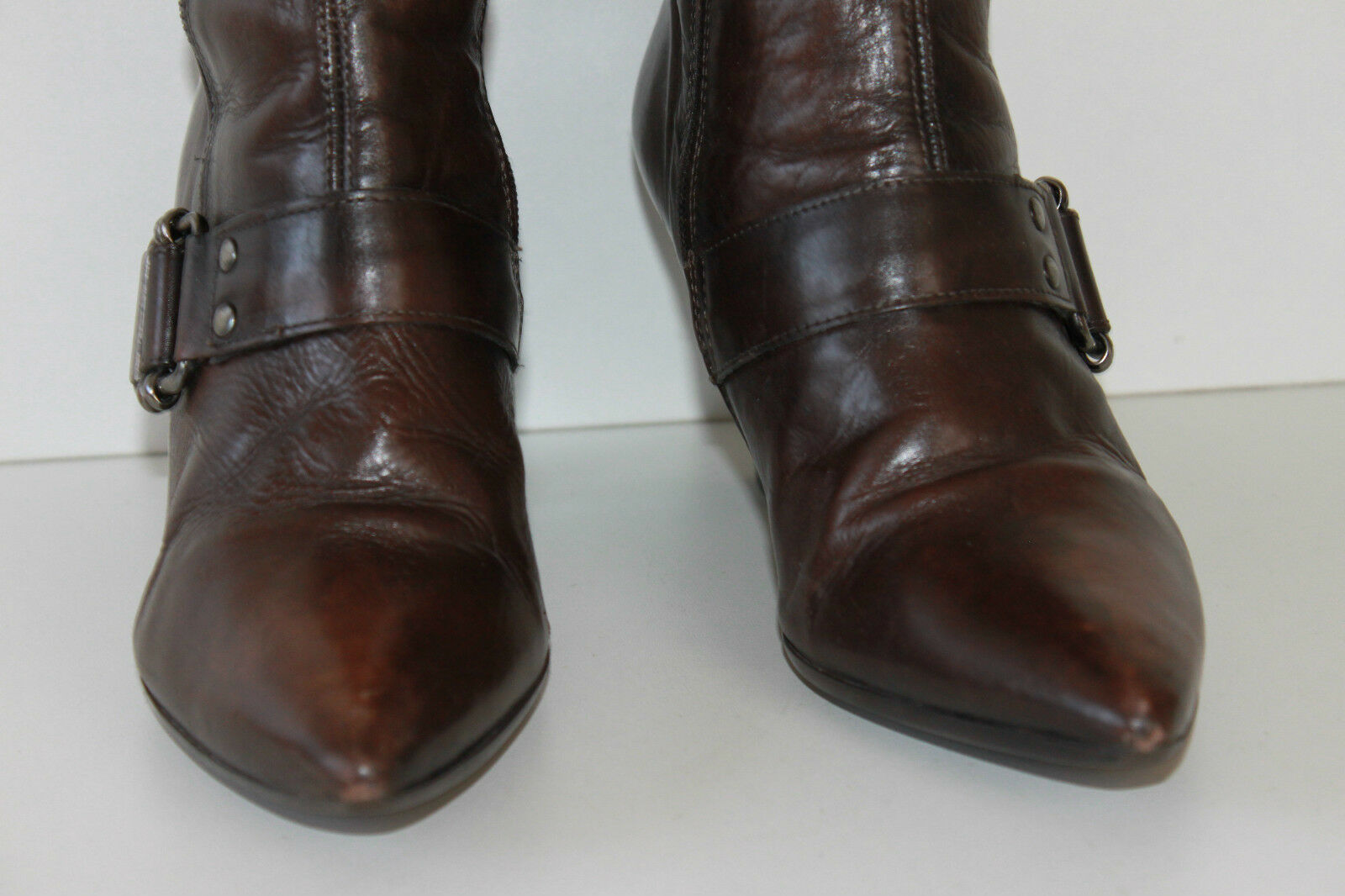 Bottes Genoux MINELLI Cuir Marron Pointues T 39 TBE