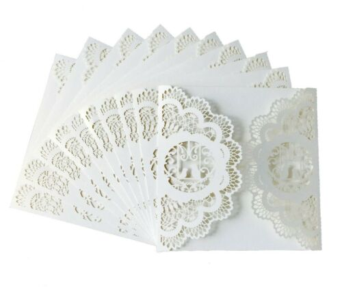 Laser Cut Love Bird Floral Lace Pearl Wedding Invitation Card Bridal Baby Shower