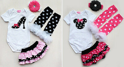 Newborn Infant Baby Girl Headband+Romper+Leg Warmer+Skirt Pants Outfit Clothes