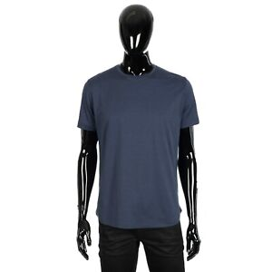 LORO PIANA 535$ Shortsleeve Crewneck Tshirt In Delft Blue Cotton & Silk