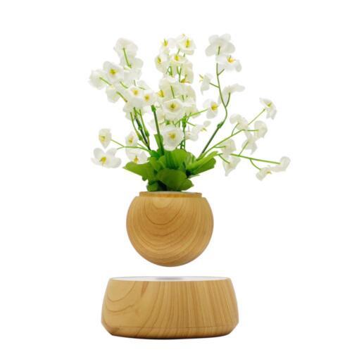 Magnetic Floating Suspension Flower Decor Air Bonsai Pot Levitating Led Light Bo