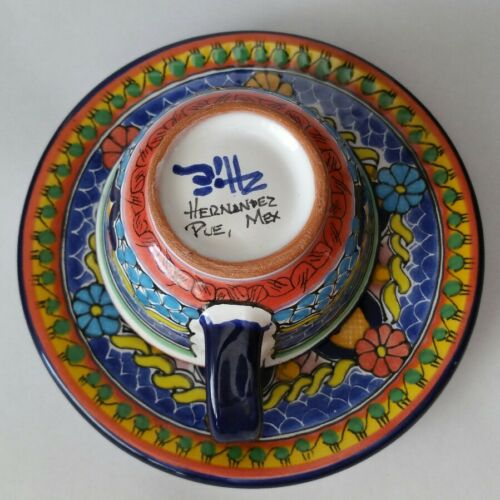 s TALAVERA Mexican Hand Painted Pottery Cup and Saucer Set