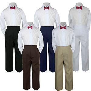 3pc-Boys-Baby-Toddler-Kids-Burgundy-Maroon-Bow-Tie-Formal-Pants-Set-Suit-S-7