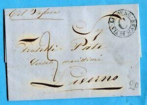"""1862 """"col Vapore"""" Manoscritto Sul Fronte + Livorno / Via Di Mare / C (272336) Riche Et Magnifique"""