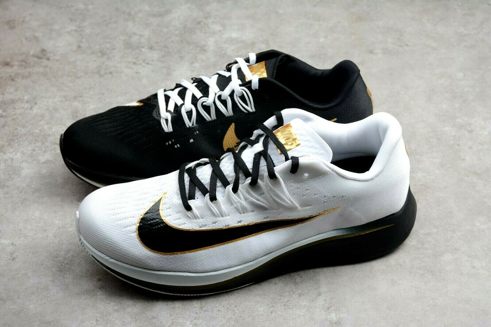 15cb2e08bfd Nike Zoom Fly Mismatch Running Shoes BLK WHT Gold Men Size 9 880848 ...