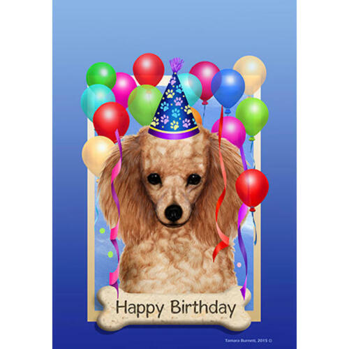 Details about  /Poodle Apricot Happy Birthday Flag