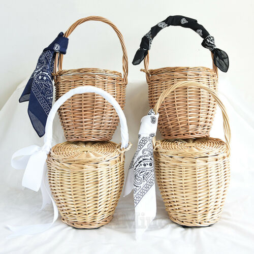 With Lid Woven Wicker 100Handmade Straw Womens Bamboo Handbags Basket Bag WDHI2E9Y