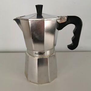 """Von Chef Espresso Maker Italian Stove Top Coffee Percolator Pot 8"""" Silver Toned"""