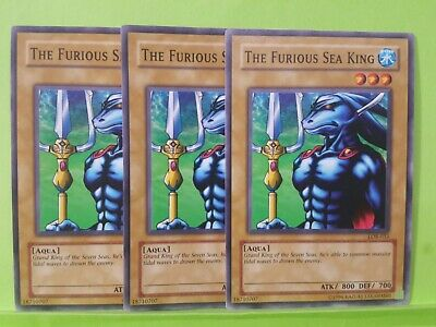 LOB-033 Common 1st Edition LOB 3x The Furious Sea King Legend of Blue Ey