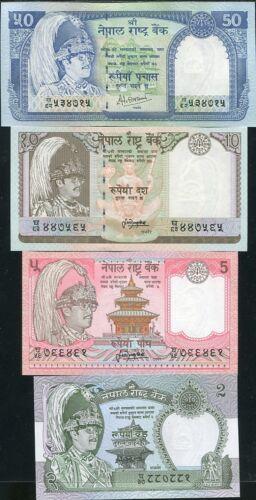 NEPAL SET 4 PCS 2 5 10 50 RUPEES P 29 30 31 33 UNC