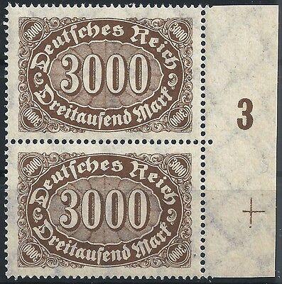 """Plnr Honig Minr """"3"""" Postfrisch 254b Im Paar Vom Rechten Seitenrand Mit Paßerkreuz"""