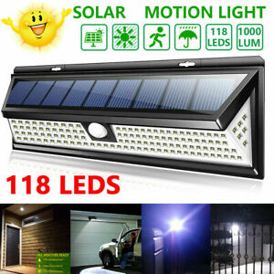 118-LED-Solar-Powered-PIR-Motion-Sensor-Wall-Security-Light-Lamp-Garden-Outdoor