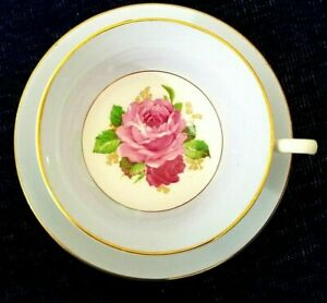 Rosina-Pale-Baby-Blue-Tea-Cup-and-Saucer-Rose-Center-Bone-China-Made-In-England