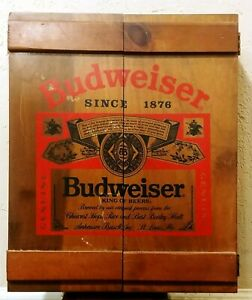VTG Budweiser Wooden Crate Cabinet Beer Can Mugs Display Man Cave