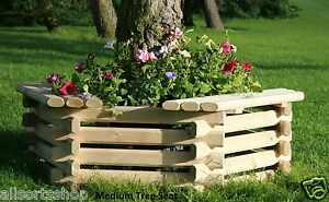 NEW-WOODEN-MEDIUM-TREE-SEAT-PLANTER-RAISED-GARDEN-FLOWERBED