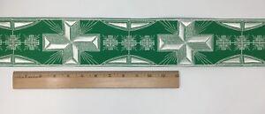 Vintage-Casula-Argento-Bianco-Croce-su-Verde-8-3cm-Bendaggio-Venduto-da-da-Campo