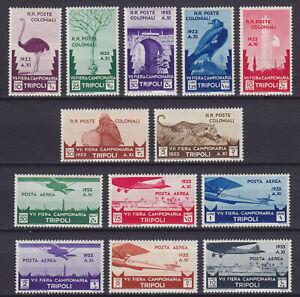 "Libia 1932 ""7° Fiera di Tripoli"" serie 13 val. nuova MNH** g. i. cert. Raybaudi"