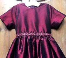 Garnet Red Silk Taffeta Sequins Italian Couture 6 6X Pageant Party Dress Gown